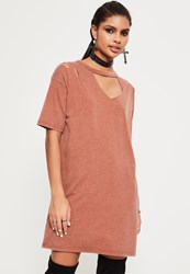 Missguided Pink Ripped Oversized T Shirt Dress Copper
