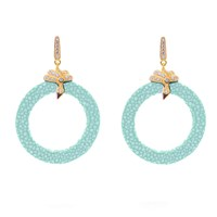 Latelita London Stingray Medium Hoop Earring Aquamarine Blue Gold Green