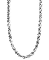 Macy's 14K White Gold Necklace 30' Hollow Rope Chain