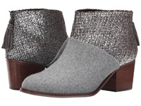 Toms Leila Bootie Grey Felt Shine Boucle Women's Zip Boots Gray