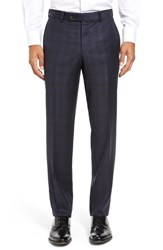 Ted Baker Men's London Jefferson Flat Front Check Wool Trousers Navy