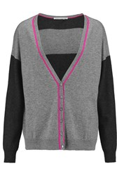Autumn Cashmere Striped Cashmere Cardigan Gray