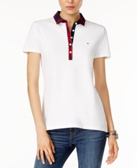 Tommy Hilfiger Marley Plaid Polo Shirt Only At Macy's Classic White
