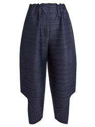 Issey Miyake Bounce Cropped Length Pleated Trousers Navy