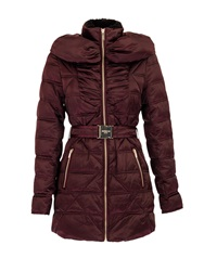 Morgan Belted Down Jacket With Faux Fur Collar Wine
