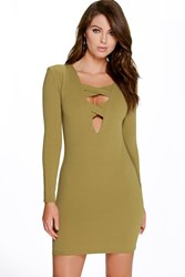 Boohoo Cross Front Long Sleeve Bodycon Dress Olive