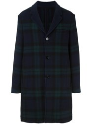 Carven Classic Checked Coat Blue