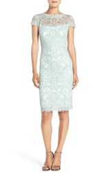 Tadashi Shoji Women's Illusion Yoke Lace Sheath Dress Mint