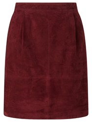 John Lewis Collection Weekend By Short Suede Skirt Burgundy