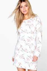Boohoo Oriental Floral Bell Sleeve Shift Dress Cream