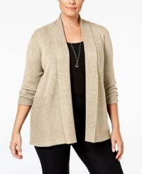 Jm Collection Plus Size Ribbed Open Front Cardigan Only At Macy's Acorn Heather