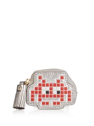 Anya Hindmarch Space Invader Metallic Leather Coin Purse Silver Multi