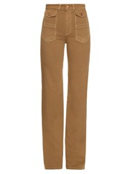 See By Chloe High Rise Flared Leg Cotton Canvas Trousers Camel
