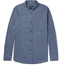 A.P.C. Marlon Slim Fit Button Down Collar Checked Cotton Shirt Blue