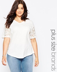 Junarose Short Sleeve T Shirt With Lace Sleeves Snowwhite