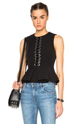 Alexander Wang Front Lace Peplum Top In Black