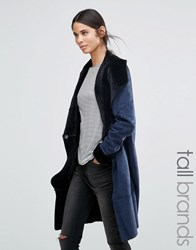 Vero Moda Tall Shearling Belted Coat Navy Blazer