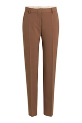 Alberta Ferretti Straight Leg Pants With Wool Brown