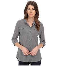 Jag Jeans Dawn Shirt Classic Fit Shirt Woven Tops Black Stripe Women's Long Sleeve Button Up