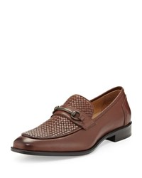 Kotoni Trading Roma Basketweave Leather Loafer Mid Brown