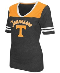 Colosseum Women's Tennessee Volunteers Twist V Neck T Shirt Charcoal Orange