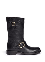 Jimmy Choo 'Biker' Rabbit Fur Leather Boots Black