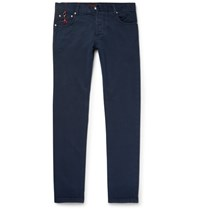 Isaia Slim Fit Washed Selvedge Denim Jeans Navy