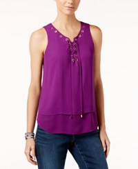 Inc International Concepts Sleeveless Lace Up Top Only At Macy's Purple Paradise