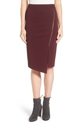 Halogenr Petite Women's Halogen Asymmetrical Zip Pencil Skirt Burgundy Stem