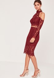 Missguided Half Sheer Lace Midi Skirt Burgundy Burgundy