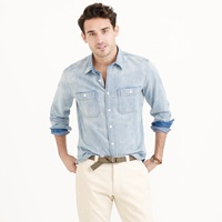 J.Crew Wallace And Barnes Distressed Denim Workshirt