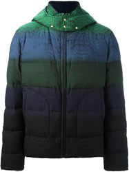 Missoni Striped Hooded Puffer Jacket Green