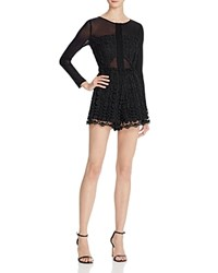 Astr Angie Long Sleeve Lace Romper Black