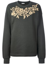 P.A.R.O.S.H. Embroidered Round Neck Sweatshirt Green