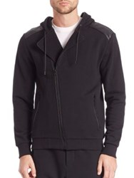 The Kooples Asymmetrical Hooded Fleece Cardigan Black