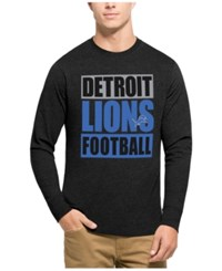 47 Brand '47 Men's Detroit Lions Compton Club Long Sleeve T Shirt Heather Black Lightblue