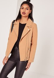 Missguided Faux Short Wool Biker Jacket Camel Brown