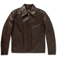 Rrl Orrow Leather Jacket Brown