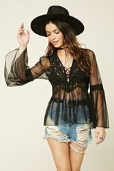 Forever 21 Lace Up Mesh Top
