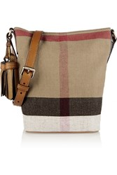 Burberry London Mini Leather Trimmed Checked Canvas Shoulder Bag