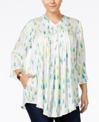 Melissa Mccarthy Seven7 Plus Size Printed Relaxed Fit Blouse Aqua