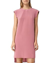 Allsaints High Low Tonya Silk Shift Dress Mauve Pink