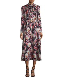 Giambattista Valli Striped Floral Silk Tie Neck Midi Dress Black Multi Black Multi