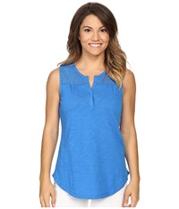 Nydj Petite Eyelet Knit Tank Top Chateau Blue Women's Sleeveless