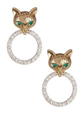 Betsey Johnson Fox And Pave Ring Drop Earrings Green