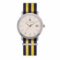 Huckle And Harper Swiss Watch Classic Nato Blue And Yellow Blue Yellow Orange