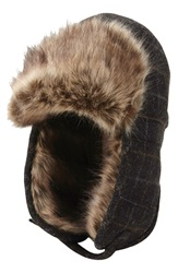 Ben Sherman Trapper Hat With Faux Fur Lining Jet Black