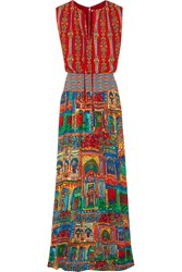 Alice Olivia Lorelle Smocked Printed Voile Maxi Dress Red
