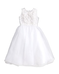 Joan Calabrese Floral Applique Beaded Sleeveless Dress White