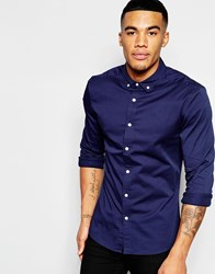 Asos Skinny Shirt In Navy Twill With Long Sleeves Navy